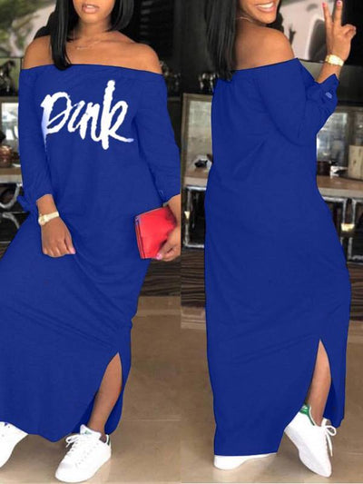 Slogan Off-Shoulder Dress