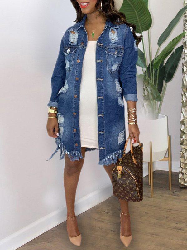 Distressed Fringe Denim Jacket