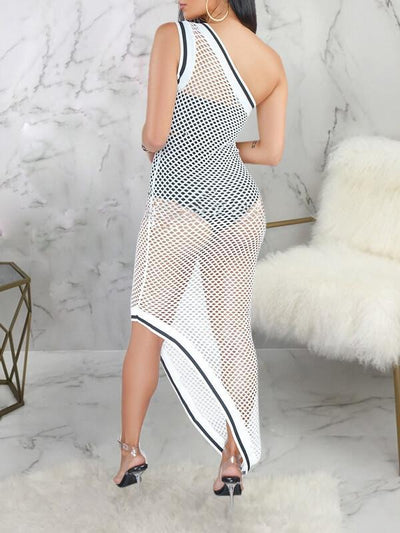 Mesh One-Shoulder Cover-Up
