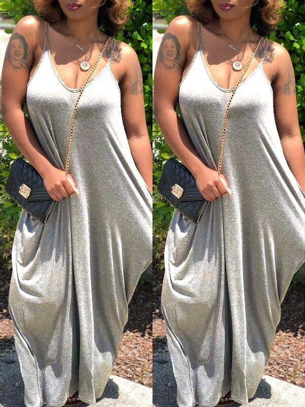 Solid Asymmetric Cami Dress