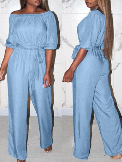 Off-Shoulder Cinched-Waist Jumpsuit