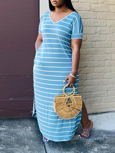 Stripe Side-Slit Tee Dress