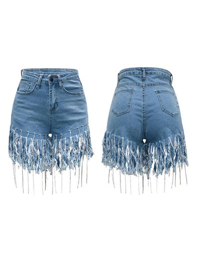 Fringe Denim Shorts