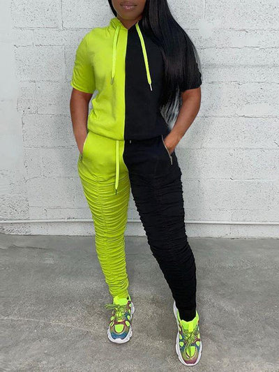 Two-Tone Hoodie & Ruched Pants Set