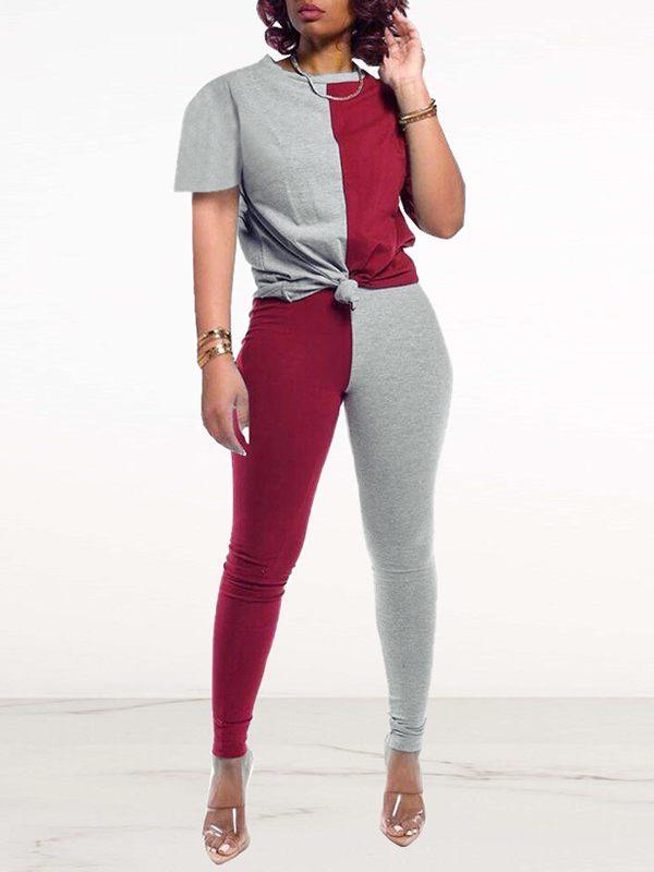 Two-Tone Combo Tee & Pants Set
