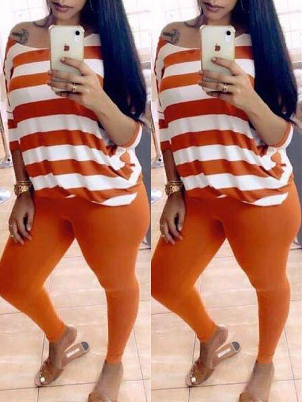 Stripe Boat-Neck Top & Leggings Set