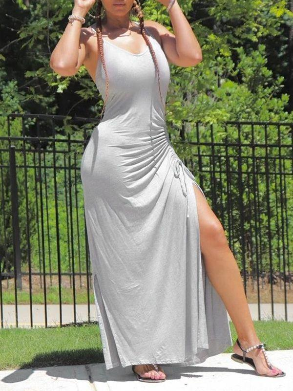 Solid Drawstring Slit Cami Dress
