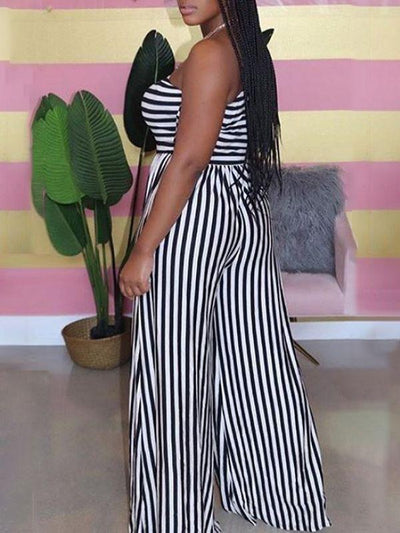 Stripe One-Shoulder Jumpsuit