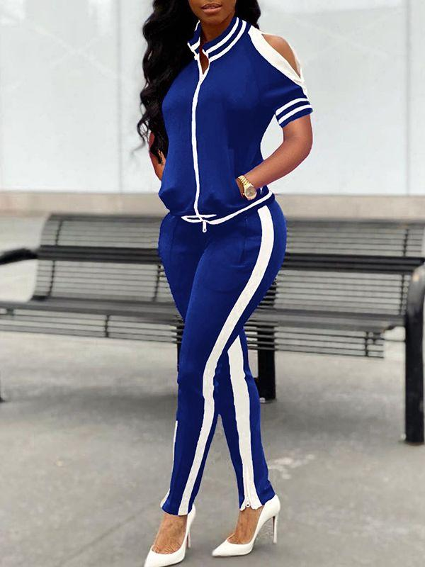 Zip-Front Top & Side-Stripe Pants Set