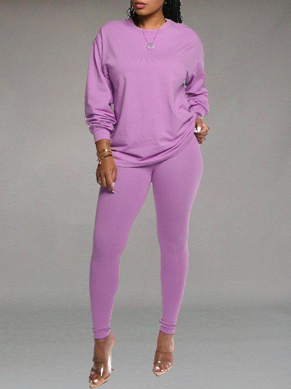 Solid Sweatshirt & Leggings Set