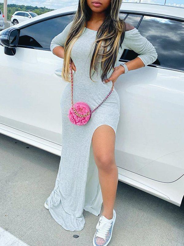 Off-Shoulder Slit Maxi Dress