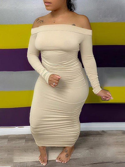 Ruched Off Shoulder Bodycon Dress