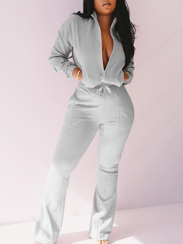 Zip-front Jacket & Flared Pants Set