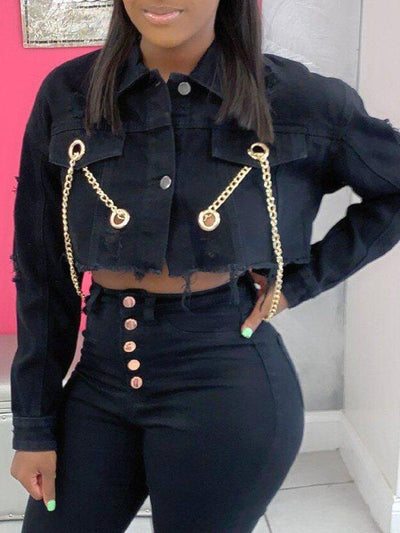 Chain Backless Cropped Jacket