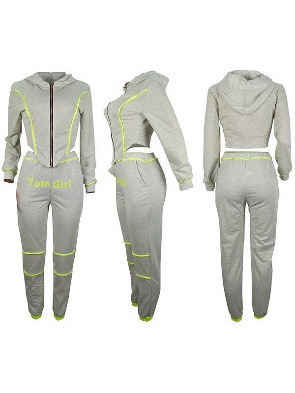 Zip-Front Hoodie & Tom Girl Pants Set