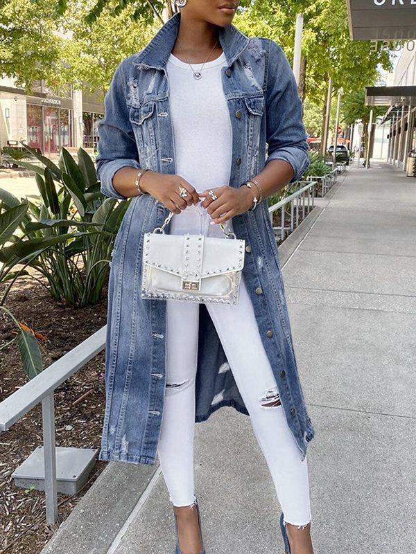 Distressed Button-Down Denim Jacket