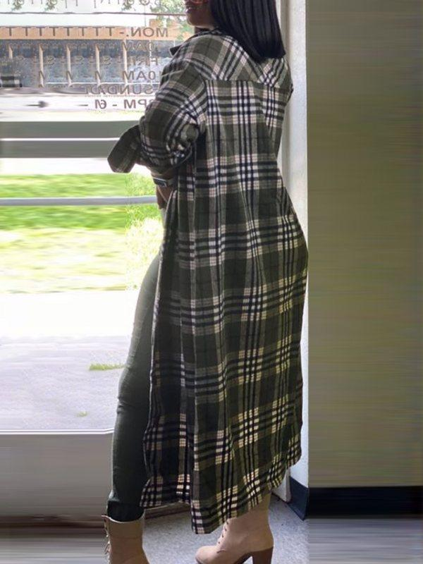 Plaid Button-Down Trench