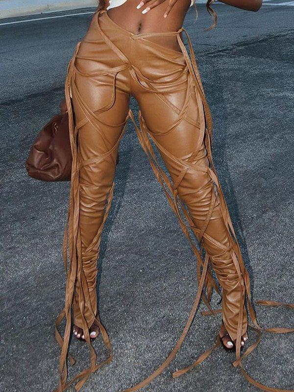 Faux-Leather Lace-Up Pants