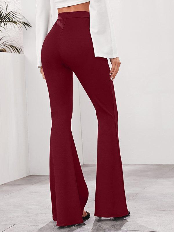 Solid Slit Flared Pants