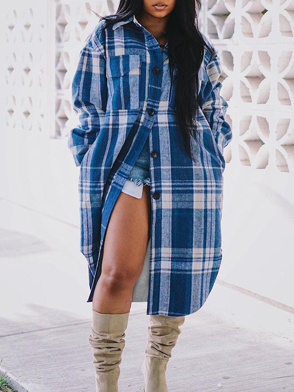 Plaid Button-Down Long Shirt