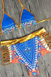 High Waist Halter Neck Print Gold Bikini Two Piece Swimsuit WhatLovely