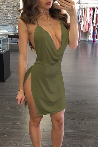 Plain Spaghetti Strap Sleeveless Short Dress