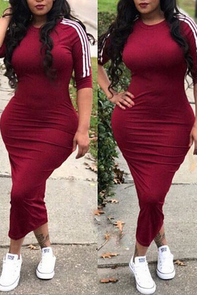 Casual Sports Stripe 3/4 Length Sleeve Bodycon Midi Dress WhatLovely