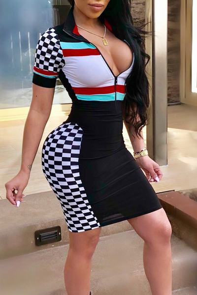 Color Block Deep V Neck Short Sleeve Short Dress