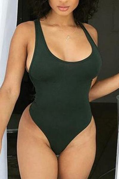 Plain Scoop Neck High Leg Regular Swimsuit