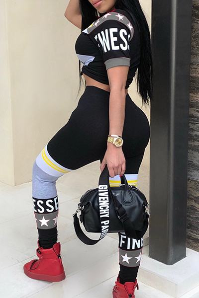 Sports Casual Color Block Short Sleeve Cropped T-shirt & Leggings Set