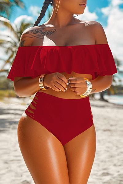 Ruffle Top Off the Shoulder High Waist Bikini Bathing Suit