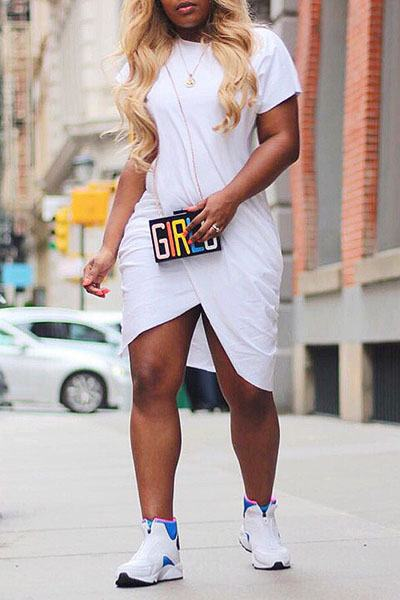 Short Sleeve Asymmetric Draped Grecian Mini Dress WhatLovely