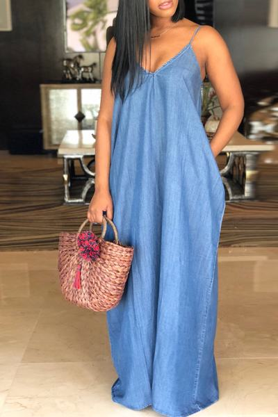 Sleeveless V Neck Long Plain Blue Denim Jean Tent Maxi Dress