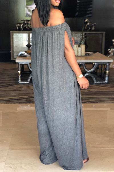 Split Sleeve Off Shoulder Regular Plain Jumpsuit