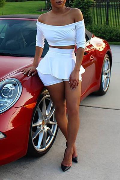 3/4 Length Sleeve Off Shoulder Top & Short Skort Set