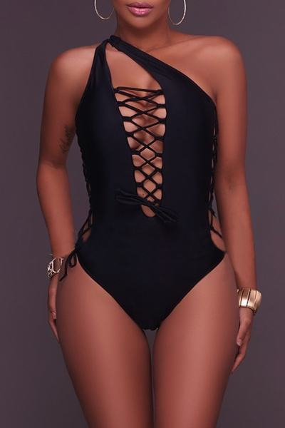 Plain Deep V Neck High Leg Regular Swimsuit