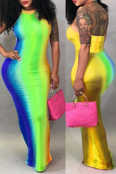Sleeveless Halter Neck Long Rainbow Striped Backless Sheath Dress