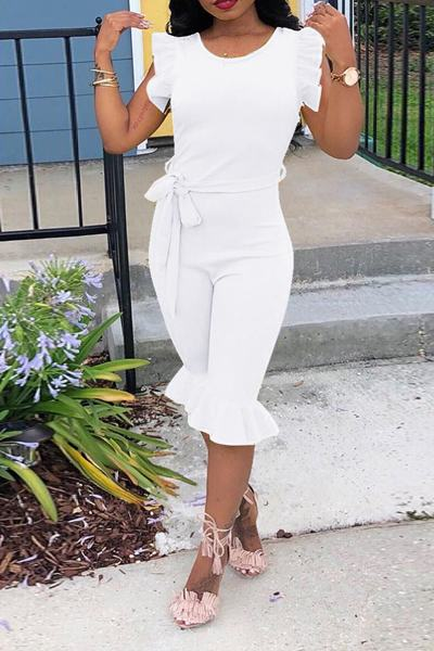 Plain Round Neck Ruffle Sleeve Knee-Length Jumpsuit