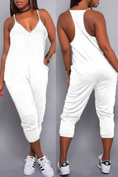 Sleeveless Spaghetti Strap Cropped Plain Jumpsuit Romper