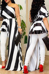 Black & White Hi-Lo Long Stripe Tunic Top WhatLovely