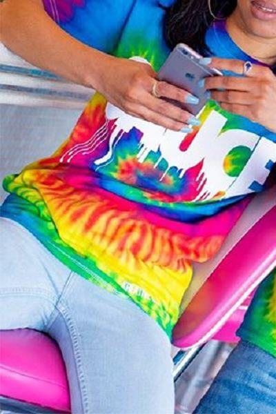 Short Sleeve Crew Neck Regular Tie Dye T-Shirt WhatLovely