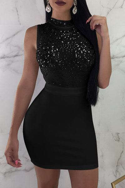 Mirror Beaded High Neck Sleeveless Short Bodycon Dress