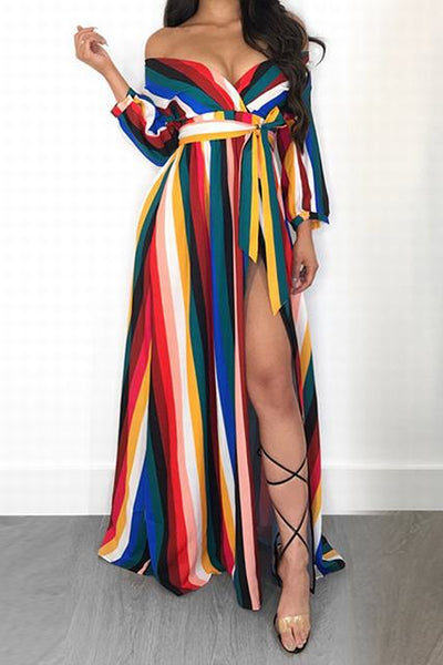 3/4 Length Sleeve V Neck Long Striped Wrap Maxi Dress