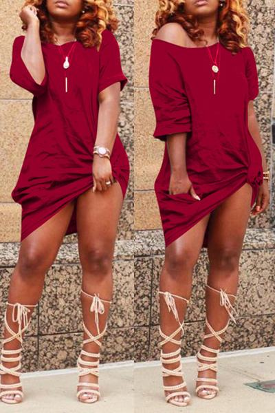 Half Sleeve Boat Neck Short Knotted T-Shirt Dress