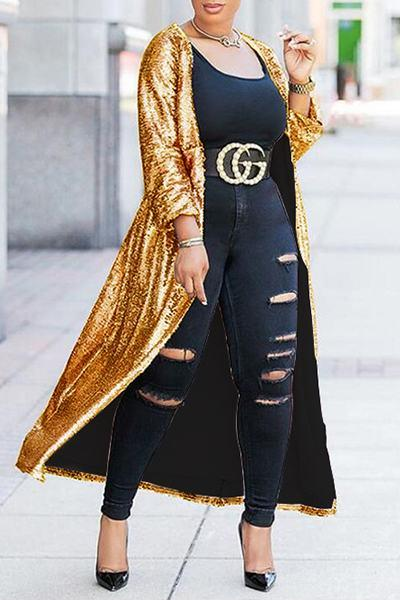 Glittery Long Sleeve Collarless Long Sequin Cardigan