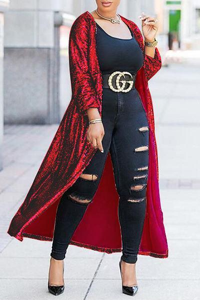 Fashion Long Sleeve Collarless Long Plain Sequin Cape