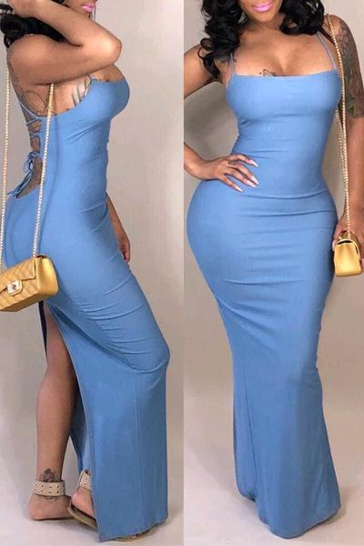 Plain Halter Neck Sleeveless Backless Lace Up Long Blue Dress