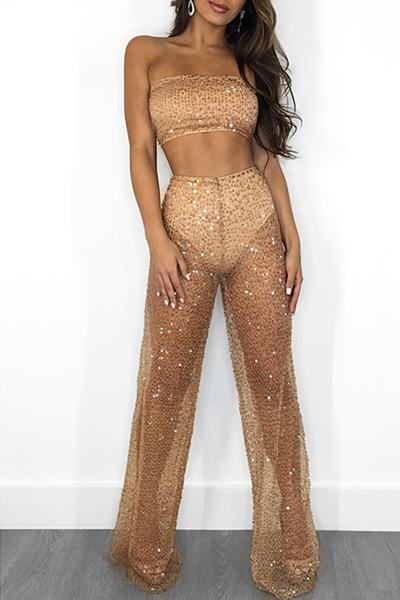 Sequin Sheer Sleeveless Crop Tube Top & Wide Leg Glitter Pants Set