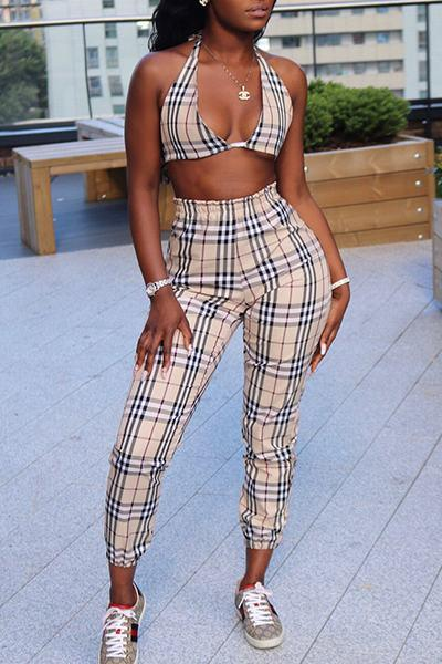 Plaid Long Sleeve Crop Blazer, Halter Neck Bra Top & Pants Set