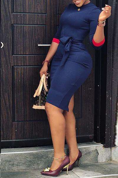 Navy Red 3/4 Length Sleeve Round Neck Knee-Length Day Dress